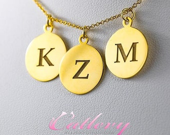 Personalized 14K Gold Disc Pendant