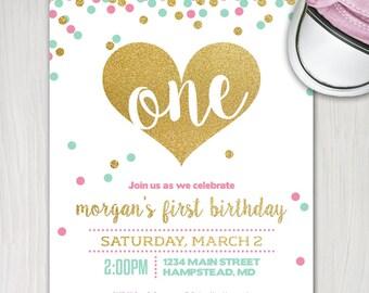 girl first birthday invite, 1st birthday printable invitation, mint pink and gold glitter confetti heart invite Three Little Birds Design