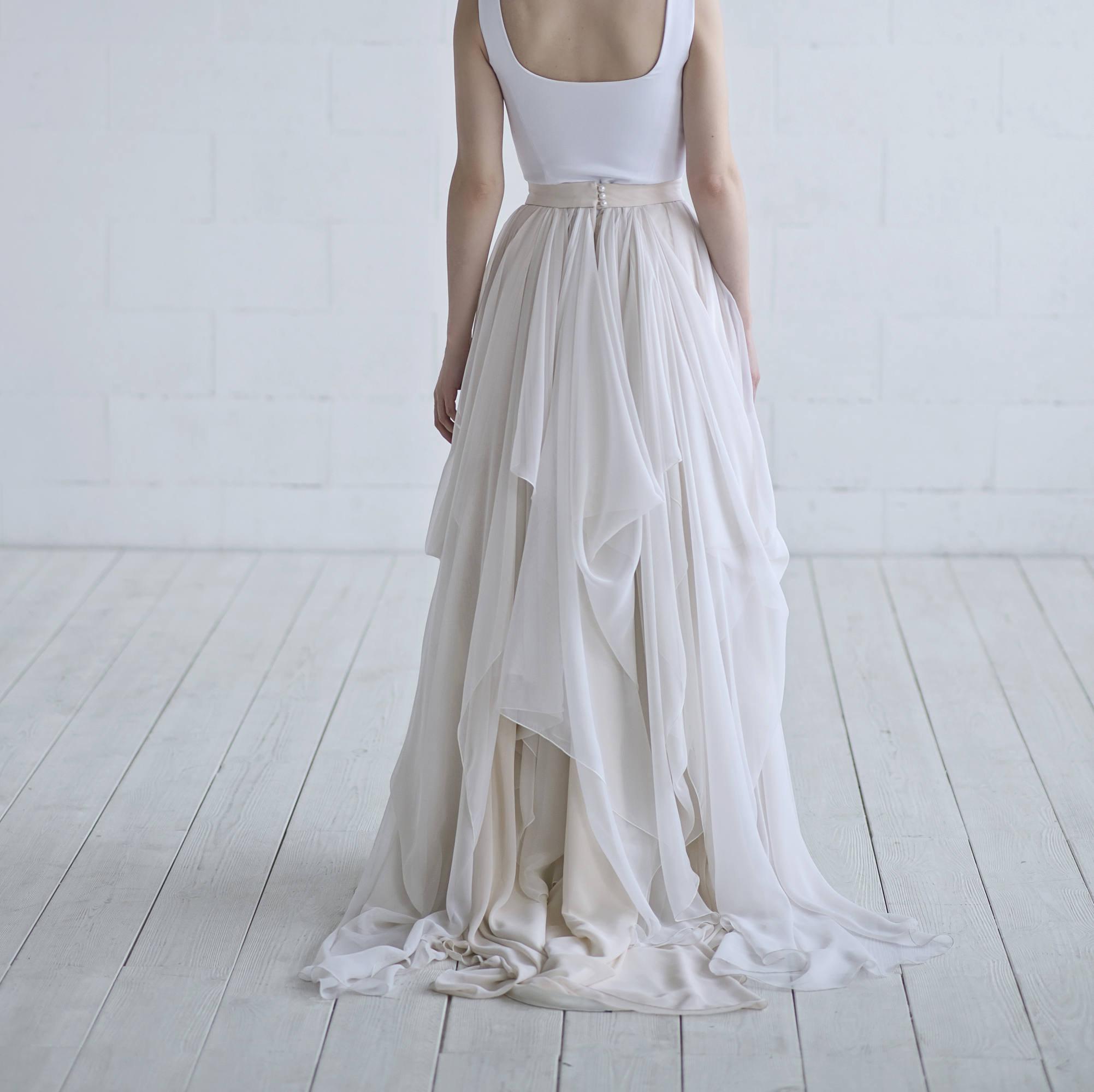 Maegan chiffon bridal skirt / lightweight bridal skirt /