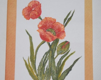 Poppies Greeting Card Hand Painted Poppies Card Poppy Card Flower Cards