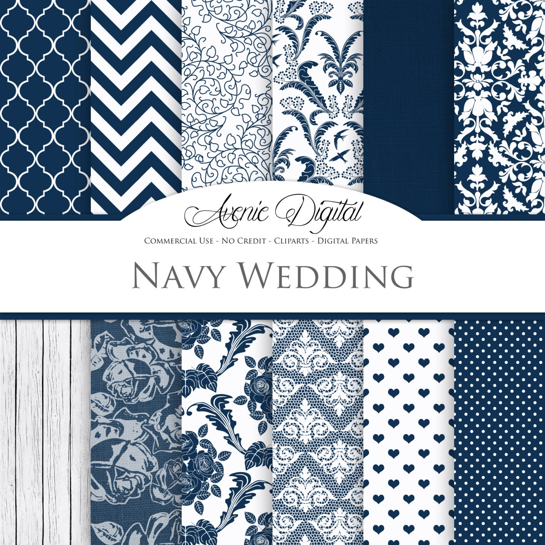 Navy Wedding Digital Paper. Scrapbooking Backgrounds, bridal blue ...