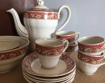 Grindleys China Coffee Set - 4 Coffee Cups and Saucers - Coffee Pot With a Detailed Rose - Pretty Red and White Set