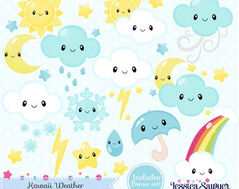 INSTANT DOWNLOAD - Kawaii Weather Clipart and Vectors for personal and commercial use