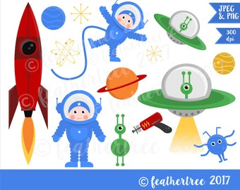 Instant Download - Digital Clipart - Space, Spaceman, Astronaut, Rocket, UFO, Alien, Science, Astronomy, Spaceship - 300dpi JPEG and PNG