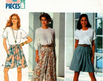 Vintage UNCUT Butterick Pattern 6073 - Family Circle Collection - Misses Fast & Easy Split Skirt  6-10