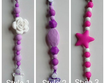 Silicone beaded pacifier clip