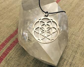 Seed of Life Flower Pendant Silver Tri Metal Bead