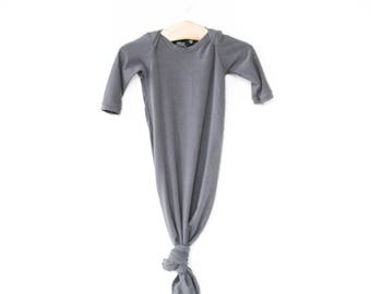 knotted sleeper, baby sleeper, gender neutral baby clothes, knotted gown, knotted baby gown, charcoal baby sleeper, gray knotted sleeper