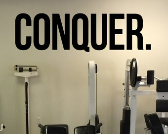 Gym Daily Motivation Conquer Vinyl Decal Fitness Wall Sticker Sport Home Gym Interior Workout Wall Graphics 17(fgm)