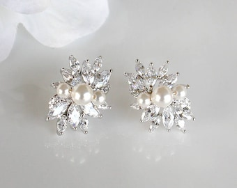 Eleanor - Swarovski Pearl Wedding Earrings, Bridal Stud Earrings, Crystal Post Earrings, Bridal Jewelry, Mother Of The Bride Groom Gift