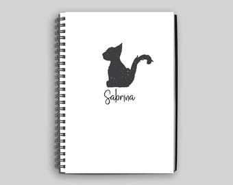 Black Cat Wire Bound Notebook ~ Personalized Cat Journal ~ Custom Cat Diary ~ Black Cat Journal ~ Personalized Gift ~ Black Cat