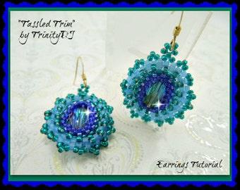 BP-EAR-006-2016-061 - Tassled Trim Earrings - earring PATTERN, earring tutorial, beadweaving tutorial, beaded earrings, beadwork pattern