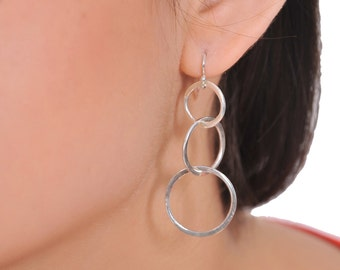 Sterling Silver Earring Plain bar stud with chain loop 7pZlKV
