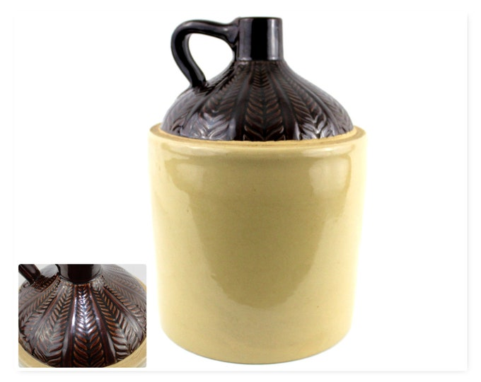 Vintage Stoneware One Gallon Crock Jug with Fern Pattern