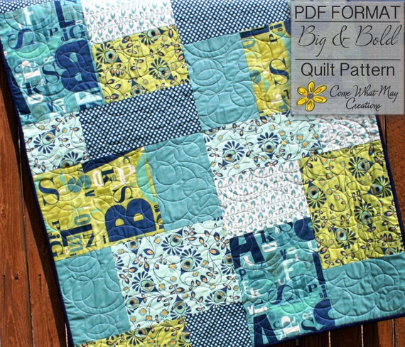 Baby Quilt Pattern Fat Quarter Quilt Pattern Big Amp Bold Baby