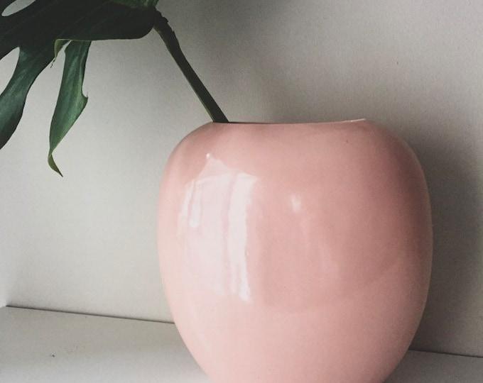 vintage pink round minimal porcelain vase