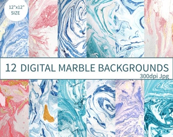Abstract Marbling Digital Paper, Marble Paper Pack, Digital Marbling, Ink Marbling, Abstract Background Marbled, Hand Drawn Clip Art Stone