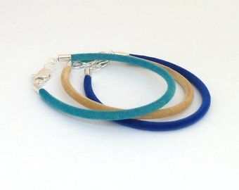Stackable bracelet set, Stacking bracelets in aqua, beige, blue, Velvet bracelet, Set of 3 friendship bracelet, Minimal, Set of three bangle