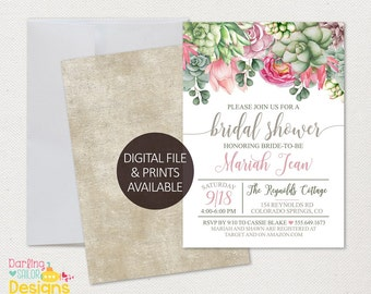 Boho Bridal Shower Invitation, Digital or Prints Available, 5x7 or 4x6, Invite, Bohemian, Boho Bride, Succulents FL0020