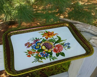 Baret Ware Metal Tray Vintage 1960s Flowers