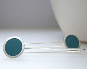 Teal Earrings - Round Drop Earrings - Minimalist Earrings - Blue Jewelry - Pop of Colour - Pop Long Drop Earrings