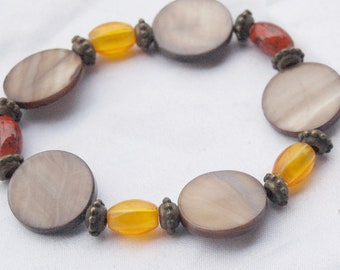 Mother of Pearl Coin Stretch Bracelet