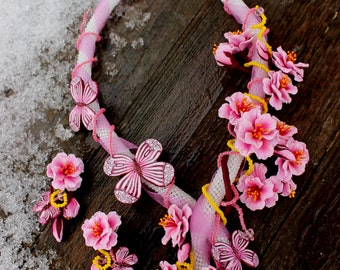 Sakura jewelry set - Wedding Necklace and earrings made of polymer clay, spring jewelry for bridal, fimo jewelry for her