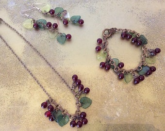 Retro inspired cherry necklace, bracelet and earring set