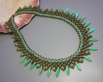 Kit and tutorial - Caribbean Sea necklace - Super Duo and Daggers beading Kit and tutorial