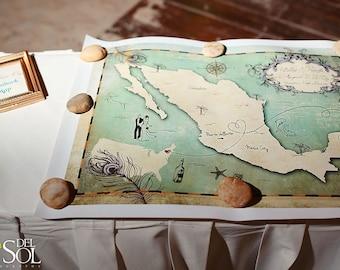 "Wedding Guest Book Map, Custom Map, Wedding Map, Destination Wedding, Mexico Wedding Map, Sizes 5""x7"" up to 30"" x 40"""