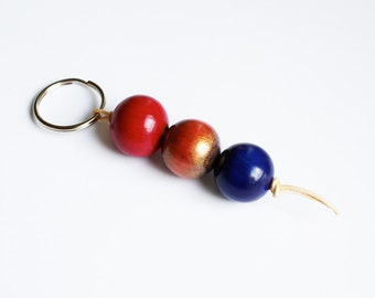 Wooden Bead Keychain - Wooden Key Hanger - Hand Painted