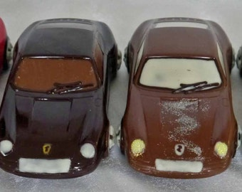 Hand-made Belgian chocolate porsche sports car