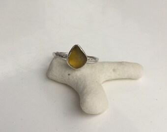 Seaglass Ring, Amber Seaglass Ring, Amber Ring, Silver Ring, Seaglass Jewellery, Cornish Seaglass