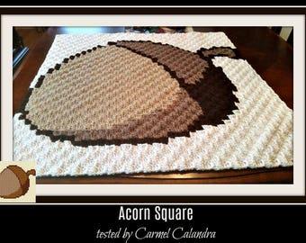 Acorn Square, C2C Graph,  Written Word Chart, Acorn C2C Graph, Acorn Corner to Corner, Acorn Autumn