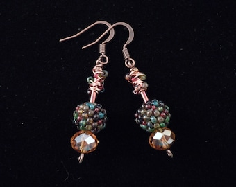 Peyote Earrings, Seed Bead Earrings, Drop Earrings, Dangle Earrings, Beaded Beads, Peyote Stitch, Gourd Stitch, Bugle Bead
