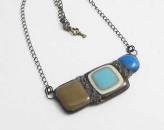 Urban Artifact | Fused Glass Jewelry | Bohemian | Stained Glass | Statement Pendant