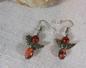 Angel earrings, angel wing, steampunk, Black Brown marbled beads earrings jewelry, bronze, women jewelry earring