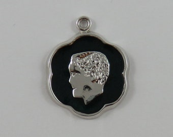 Boy Face With Green Enamel Sterling Silver Vintage Charm For Bracelet
