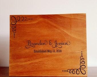 Engraved Wedding Guest Book/Custom Engraved Guest Book/Custom Name Engraved Guest Book/Engraved Wood Guest Book/Routed Wedding Guest Book