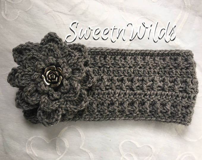 Crocheted Flower Headband-Earwarmers -Fall Accessories -Winter Hats-Womens Headbands -Hairbands -Christmas Gifts