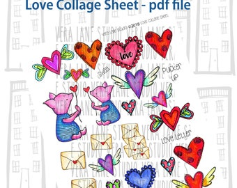 Love and hearts themed collage sheet -- 27 clips in PDF sheet
