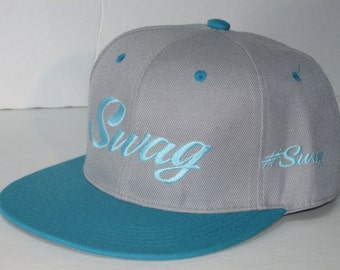 "New hat  ""Swag""  #Swag  flat embroidered gray/aqua flat bill snap back"