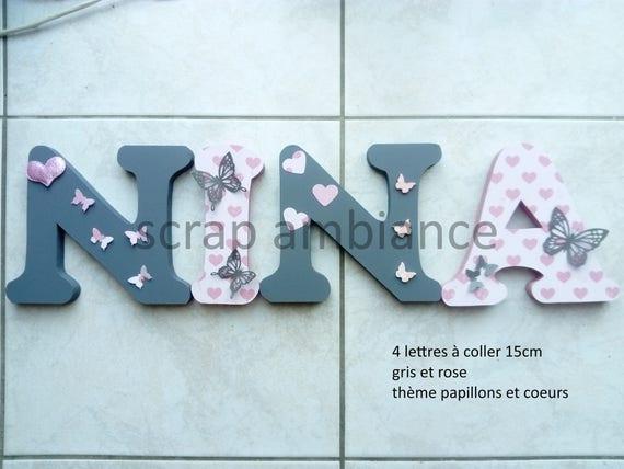Lettre En Bois Prénom En Bois Plaque De Porte Lettres En - Plaques de porte décoratives