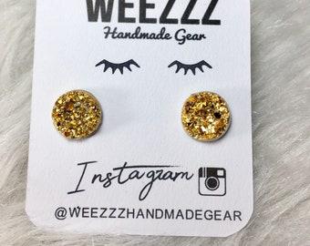 Gold 12mm Druzy Earrings