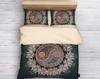 Yin Yang Bedding, Mandala Bedding, Boho Bedding, Bohemian Bedding, Queen Bedding, King Bedding, Boho Duvet Cover, Boho Decor
