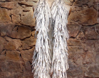 Fringe scarf, Off-white and gray, bulky scarf, Pure wool, Original scarves, Gray and off-white, Winter scarf, Hairy scarf, Pure wool scarf
