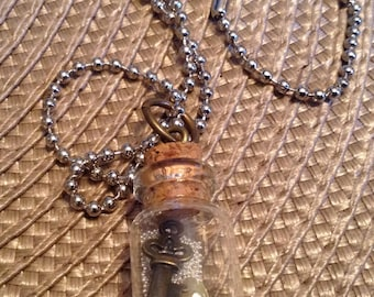 Miniature Key in Bottle on a Ball Chain Necklace