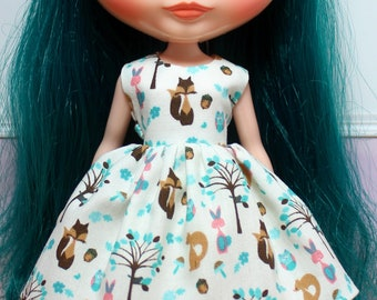 BLYTHE doll Its my party dress - teal woodland