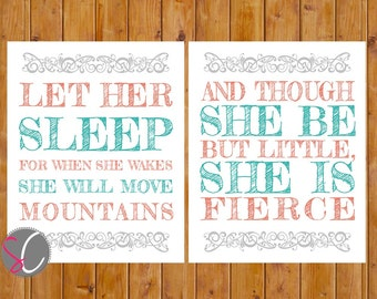 Let Her Sleep For When She Wakes And Though She Be But Little, She is Fierce Nursery Wall Art Coral Teal 2- 8x10 JPG (122)
