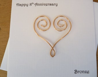 8th anniversary card eight years bronze wedding 8 years marriage